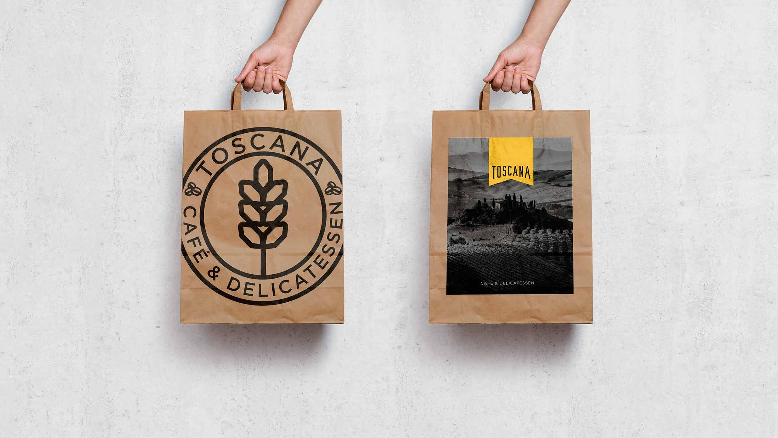Diseño de packaging para la cafetería Toscana Madrid