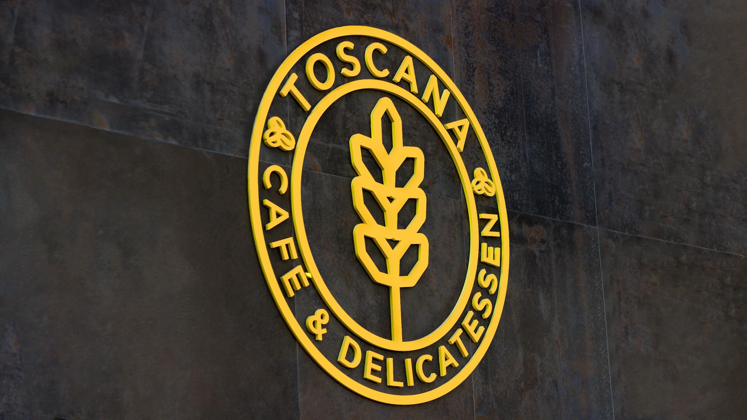 Diseño de rótulo corpóreo exterior para la cafetería Toscana Madrid